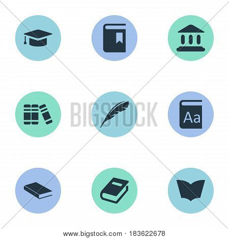 Vector Illustration Set Of Simple Books Icons. Elements Notebook, Alphabet, Book Cover And Other Synonyms Journal, Alphabet And Dictionary.