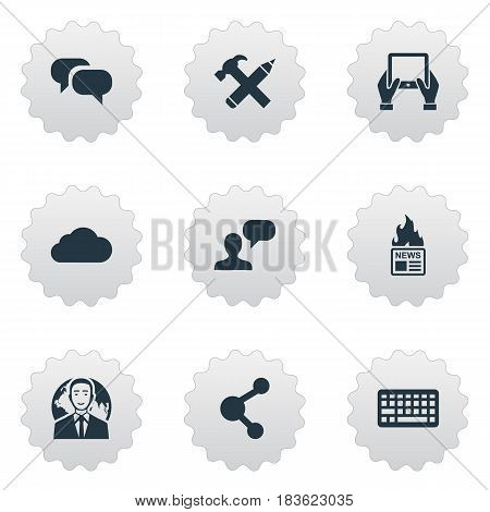 Vector Illustration Set Of Simple Blogging Icons. Elements Keypad, Gossip, Man Considering And Other Synonyms Pencil, Notepad And Globe.