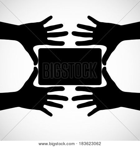Hands with fingers spread out and card. Silhouettes element for your design.
