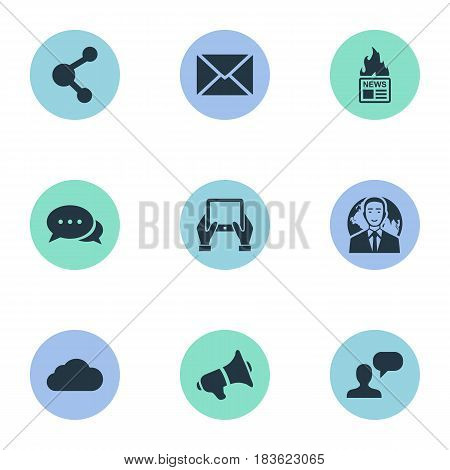 Vector Illustration Set Of Simple Blogging Icons. Elements Gazette, Post, Man Considering And Other Synonyms Debate, Hand And Gazette.