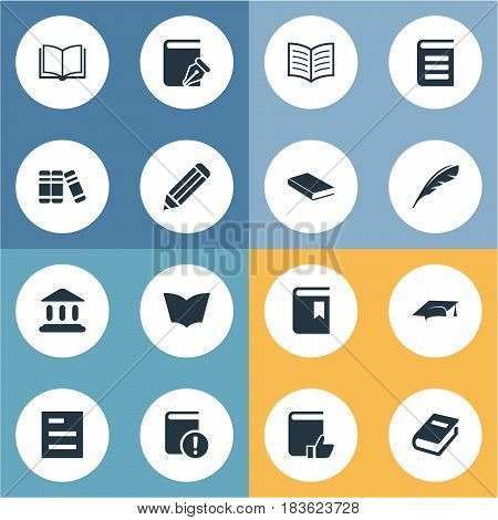 Vector Illustration Set Of Simple Knowledge Icons. Elements Pen, Bookshelf, Notebook And Other Synonyms School, List And Blank.