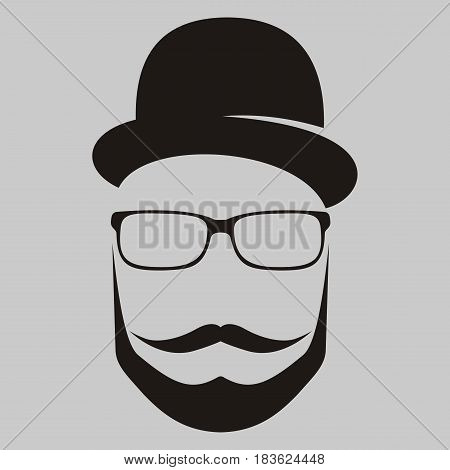 A man in a hat with a mustache glasses and a beard