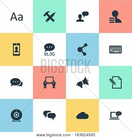 Vector Illustration Set Of Simple Newspaper Icons. Elements Repair, Share, Profile And Other Synonyms Cedilla, Blog And Conversation.