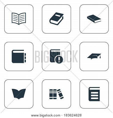 Vector Illustration Set Of Simple Books Icons. Elements Notebook, Reading, Important Reading And Other Synonyms Important, Notebook And Library.