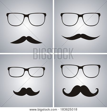 Glasses and mustache vector set. Simple glasses and mustache shape illustration editable elements can be used in logo design
