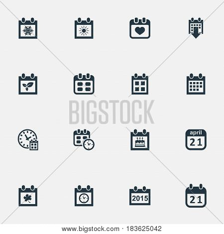 Vector Illustration Set Of Simple Calendar Icons. Elements Special Day, Annual, Summer Calendar And Other Synonyms Planner, Reminder And Date.