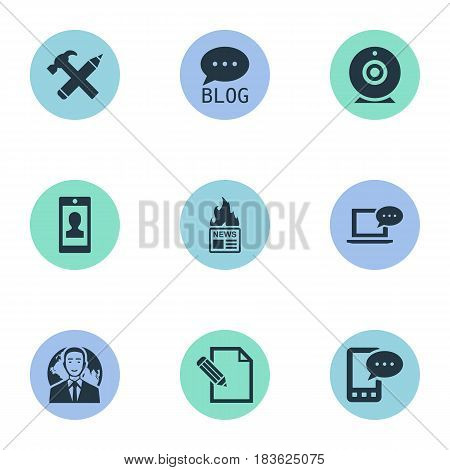 Vector Illustration Set Of Simple Newspaper Icons. Elements Document, E-Letter, International Businessman And Other Synonyms Writing, Pen And Gazette.