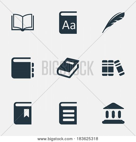 Vector Illustration Set Of Simple Books Icons. Elements Book Cover, Plume, Blank Notebook And Other Synonyms Journal, School And Bookmark.