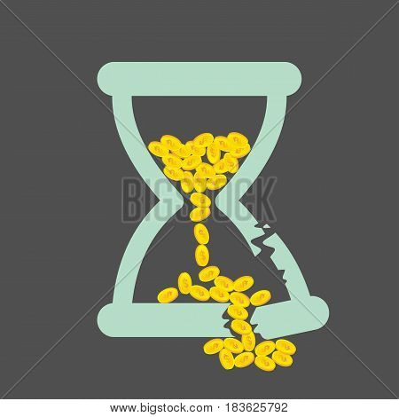 Time is Money concept with golden coins in a broken hourglass. vector illustration.