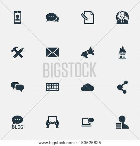 Vector Illustration Set Of Simple User Icons. Elements Site, Share, Gain And Other Synonyms Loudspeaker, Megaphone And Earnings.