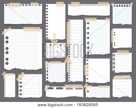 Notebook papers with torn, ripped edge vector set attached with sticky tape on grey background . Ripped paper page, empty damaged rip paper illustration. Realistic vector illustration