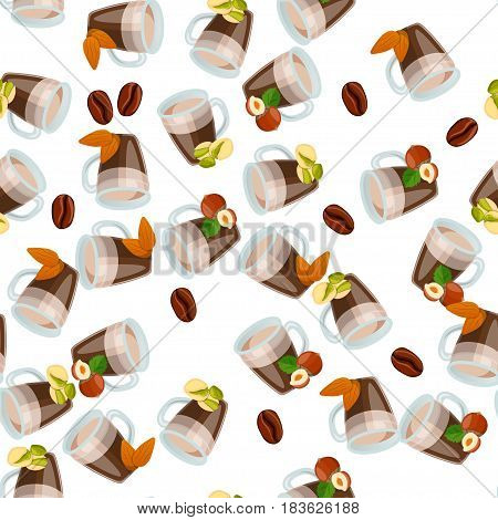 Very high quality original trendy vector seamless pattern with hazelnut, almonds, and pistachio hot chocolate cup
