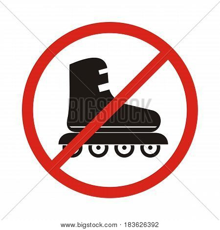 No Roller skates sign icon. Rollerblades symbol. Red prohibition sign. Stop symbol. Vector