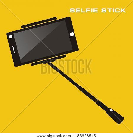 Selfie stick with mobile phone. Flat icon on yellow background. vector