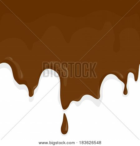 Chocolate melting and dripping. Vector background illustration