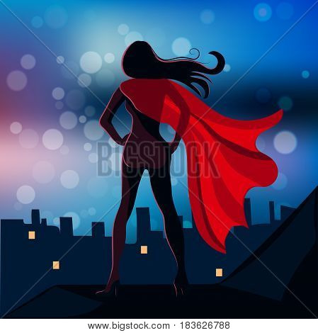 Vector Illustration of Super Hero Girl or supergirl at night city