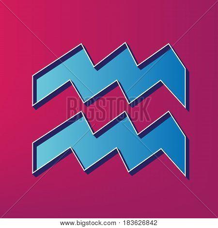 Aquarius sign illustration. Vector. Blue 3d printed icon on magenta background.