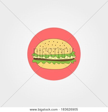 Hamburger fastfood icon flat style vector illustration