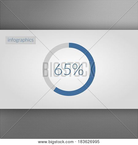 65 percent pie chart symbol. Percentage vector infographics. Circle diagram sign isolated on dotted background