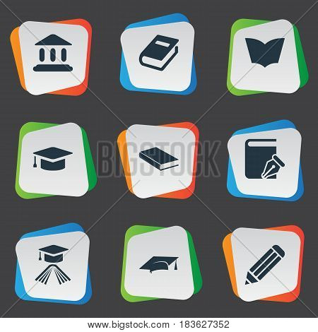 Vector Illustration Set Of Simple Books Icons. Elements Notebook, Library, Academic Cap And Other Synonyms Textbook, Hat And Building.