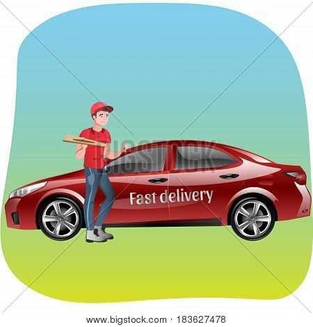 Delivery man with pizza. Fast Delivery. Vector illustration