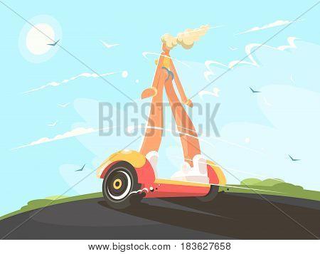 Pretty girl blonde speed transporting on gyroscope. Vector flat illustraion