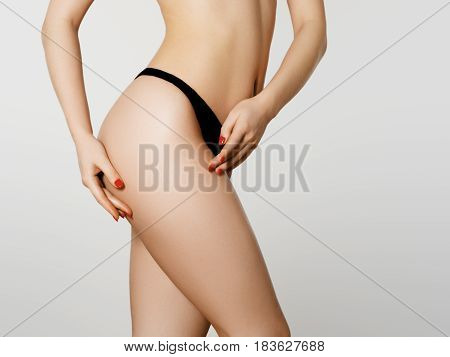 Perfect Slim Toned Young Body Of The Girl. Fitness Or Plastic Surgery And Aesthetic Cosmetology. Bea