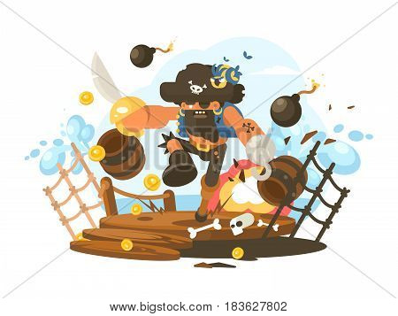 Mad pirate with hook and sword on ship deck. Vector illustration