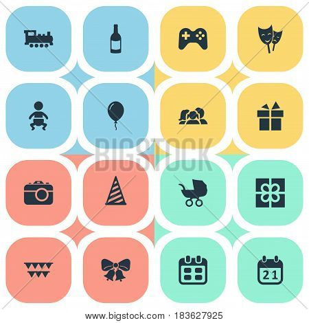 Vector Illustration Set Of Simple Holiday Icons. Elements Box, Train, Baby Carriage And Other Synonyms Present, Fizz And Joystick.