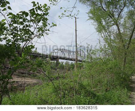 Utica Bridge over the Illinois River as viewed from the return path from St. Louis Canyon at Starved Rock State Park