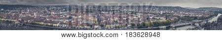 Big panorama city view of Wurzburg with dramatic sky Frankonia Bavaria Germany