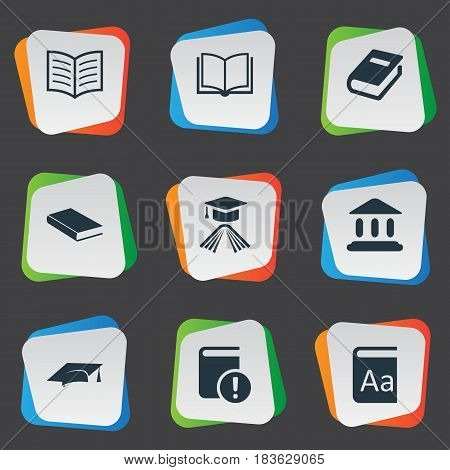 Vector Illustration Set Of Simple Reading Icons. Elements Graduation Hat, Academic Cap, Book Page And Other Synonyms Important, Building And Book.