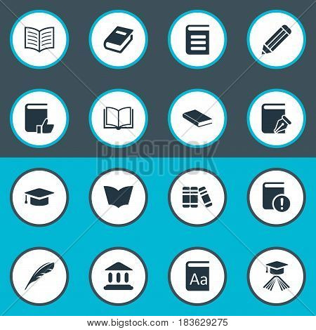 Vector Illustration Set Of Simple Reading Icons. Elements Blank Notebook, Book Page, Graduation Hat And Other Synonyms Academic, Dictionary And Catalog.