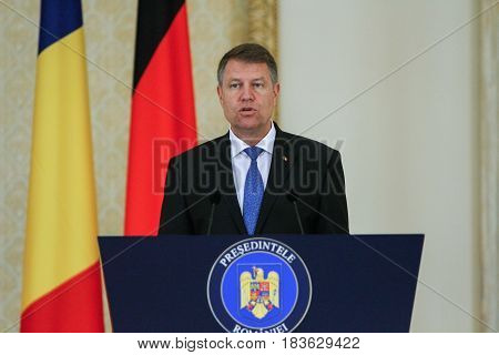 BUCHAREST ROMANIA June 20 2016: Romanian president Klaus Iohannis speaks during an official meeting with the German president Joachim Gauck in Bucharest.