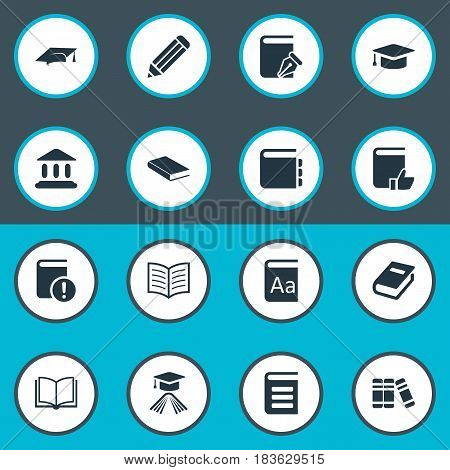 Vector Illustration Set Of Simple Reading Icons. Elements Book Page, Important Reading, Encyclopedia And Other Synonyms Pen, Encyclopedia And Dictionary.