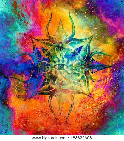 Ornamental mandala in cosmic space, Third Eye Chakra