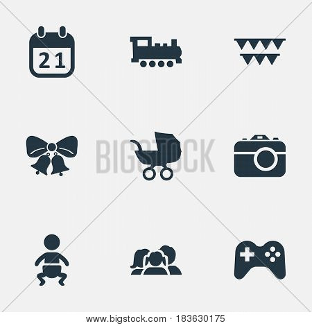 Vector Illustration Set Of Simple Celebration Icons. Elements Game, Domestic, Resonate And Other Synonyms Train, Jingle And Carriage.