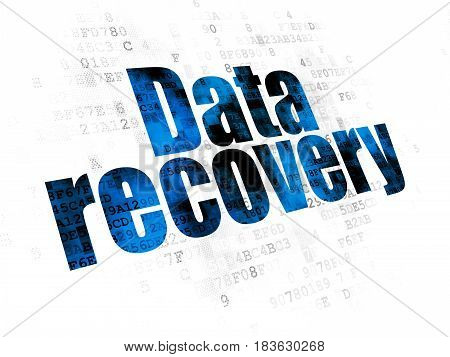 Data concept: Pixelated blue text Data Recovery on Digital background