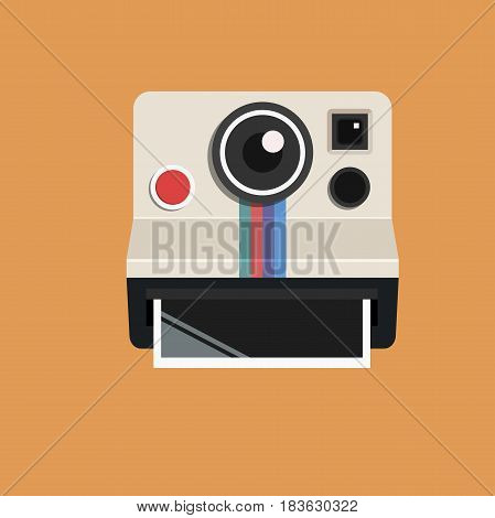 Classic Retro Photo Camera Prints. Vintage Instant Camera Flat Icon Vector Illustration