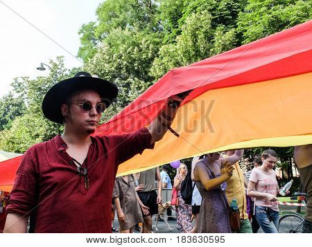 BUCHAREST ROMANIA June 25 2016: People participate in the Gay Pride Parade in Bucharest.