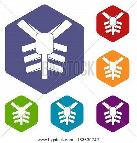 Human thorax icons set hexagon isolated vector illustration