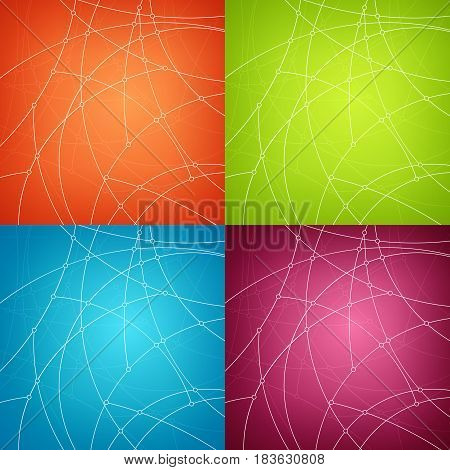 Set of Abstract Geometric Backgrounds of the Curves , Unfinished Lines, Nodes on Orange Green Blue and Pink Background, Vector Illustration