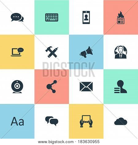 Vector Illustration Set Of Simple Blogging Icons. Elements Share, Overcast, Post And Other Synonyms Repair, Broadcast And Post.
