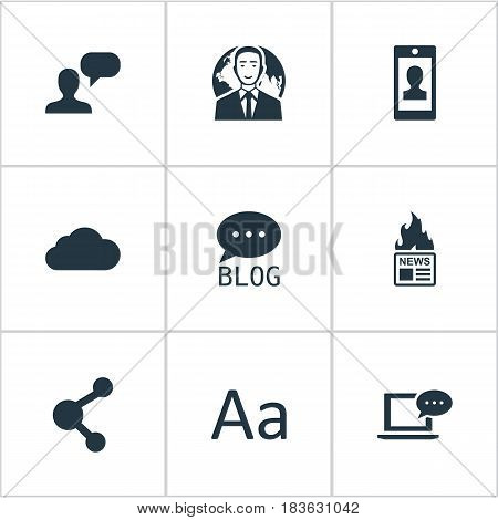 Vector Illustration Set Of Simple Newspaper Icons. Elements Site, Overcast, Profile And Other Synonyms Considering, Smartphone And Network.