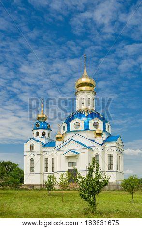 Orthodox temple in a small village Novoselovka in Central Ukraine.