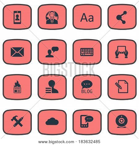 Vector Illustration Set Of Simple User Icons. Elements Broadcast, Gain, Keypad And Other Synonyms Gain, Profile And Profit.