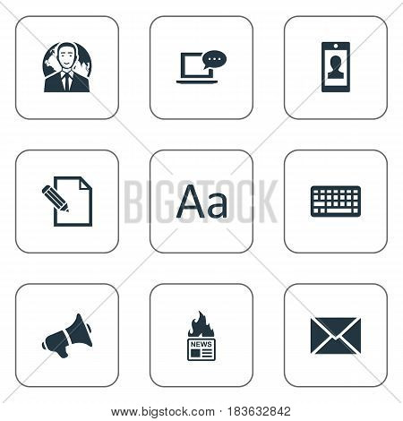 Vector Illustration Set Of Simple Blogging Icons. Elements Cedilla, Document, Gazette And Other Synonyms Keypad, Keyboard And Megaphone.