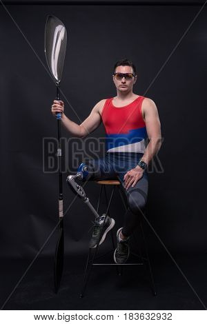 Man Athlete Sporstman Canoe Kayak Paddle, Prosthetic Leg