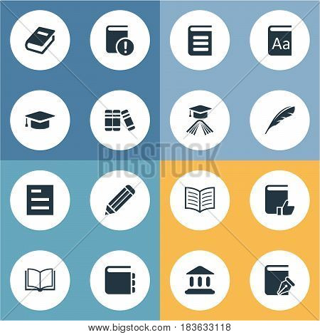 Vector Illustration Set Of Simple Reading Icons. Elements Journal, Tasklist, Pen And Other Synonyms Reading, Academy And Pen.