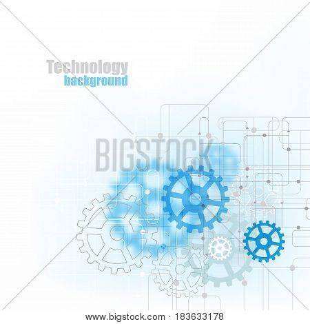 Blue abstract technology background with blue gears on a light background.Vector eps10